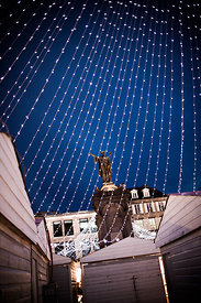 Urbain II statue in PLace de la Victoire at Christmas, Clermont Ferrand