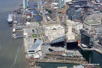 aerial photograph of Pier Head Liverpool Merseyside England UK