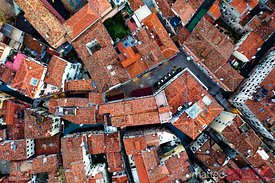 Aerial overhead view of houses, Venice