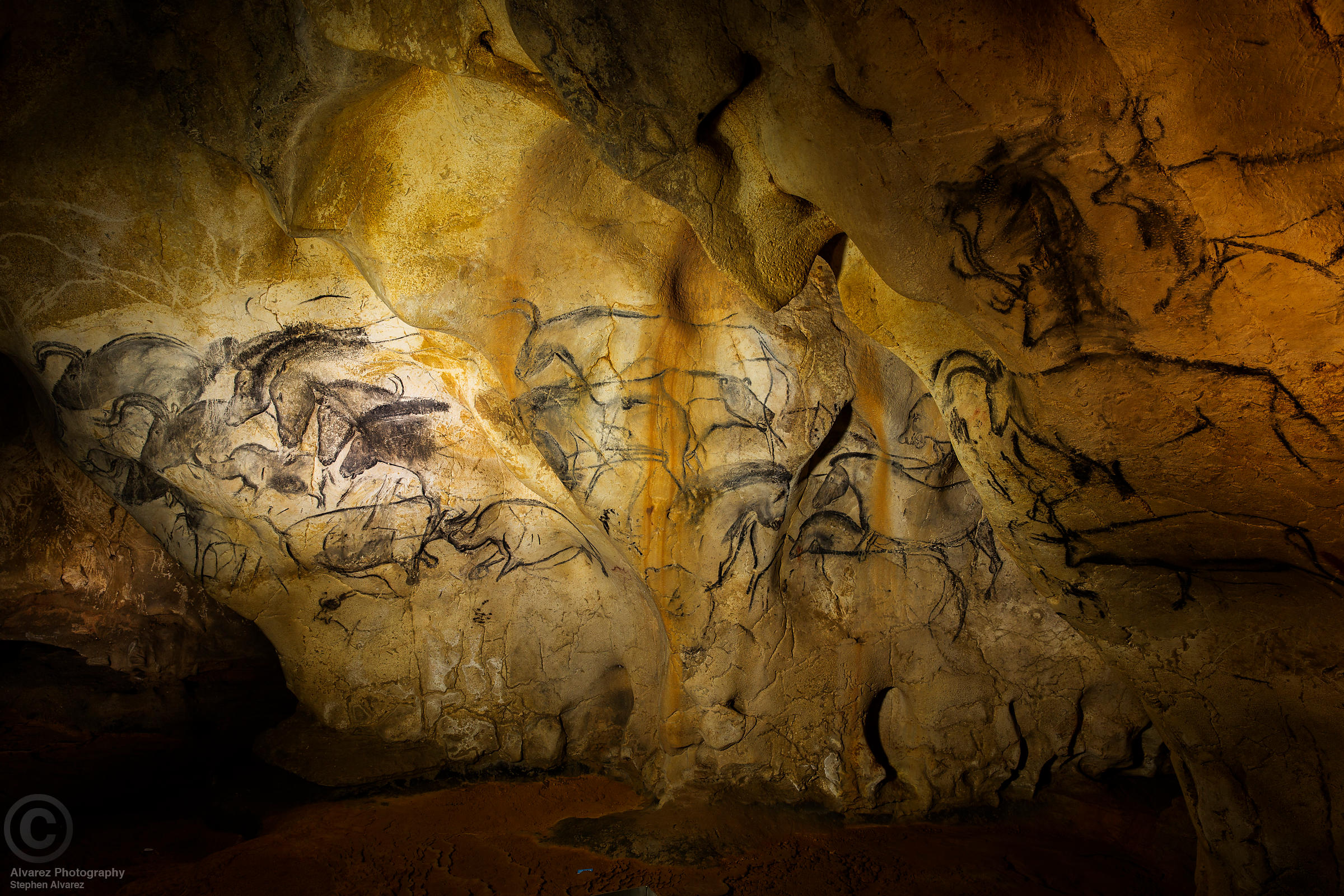 The Horse Panel in Chauvet Cave, Ardeche France. The charcaol in these paintings has been dated to 30,000 years BCE.