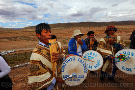 Indigenous musicians playing panpipes and drums, Viluyo, Potosí Department, Bolivia