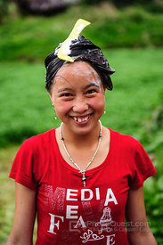 Young Black Hmong Woman Washing Hair with Comb