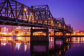 Peoria Illinois Murray Baker Bridge at Night