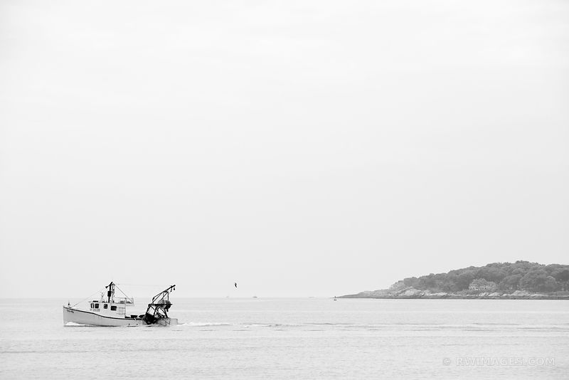 FISHING BOAT GLOUCESTER CAPE ANN MASSACHUSETTS BLACK AND WHITE