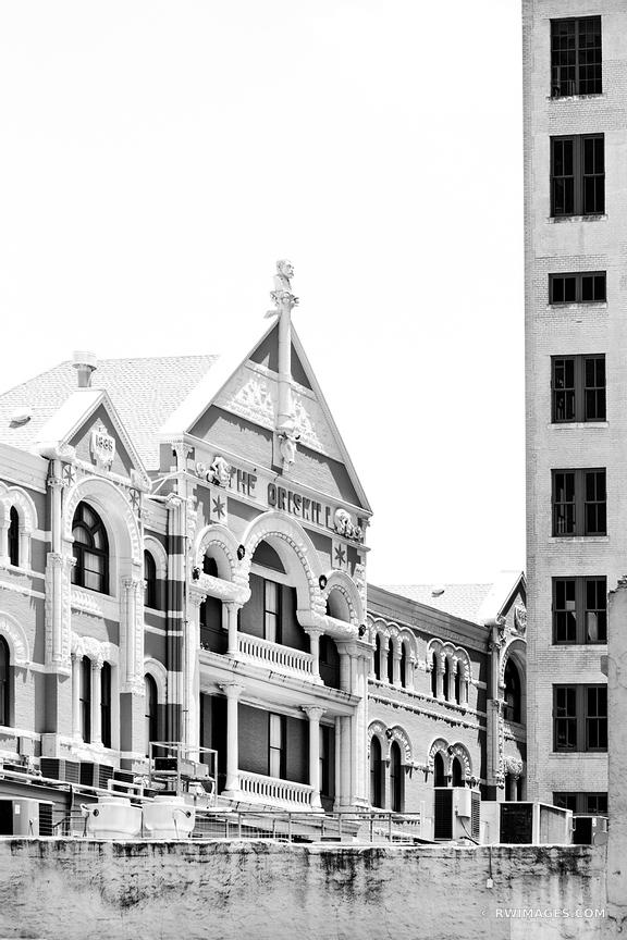 THE DRISKILL BUILDING HISTORIC DOWNTOWN AUSTIN ARCHITECTURE BLACK AND WHITE VERTICAL