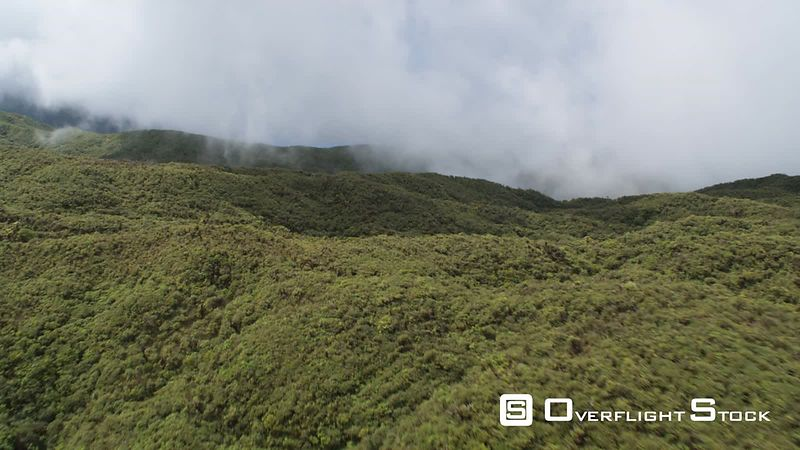 Over misty forested hills of Molokai