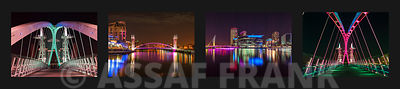 Collage of Manchester city at night