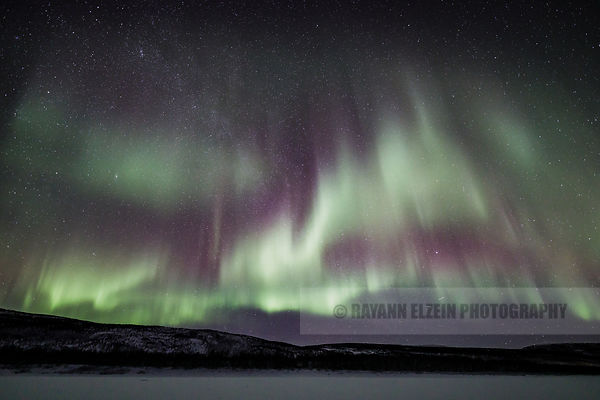 Aurora above the Teno River at the Aurora Holidays cottages in Utsjoki