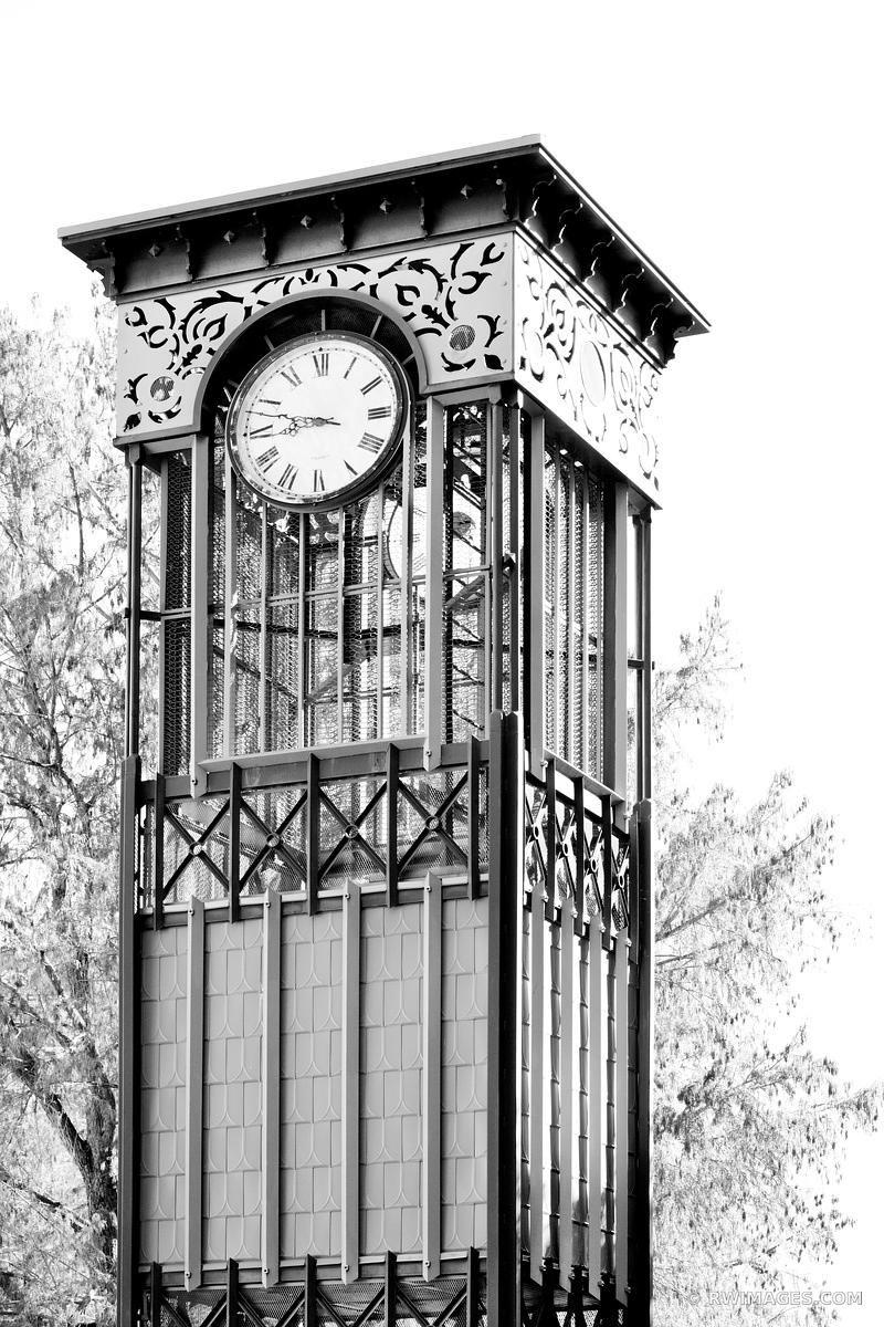 CLOCK TOWER RIVER WALK SAN ANTONIO TEXAS BLACK AND WHITE