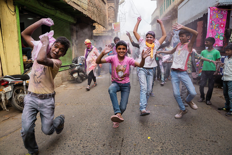 Holi Revellers in the Streets of Mathura