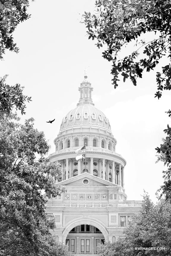 TEXAS STATE CAPITOL AUSTIN BLACK AND WHITE VERTICAL