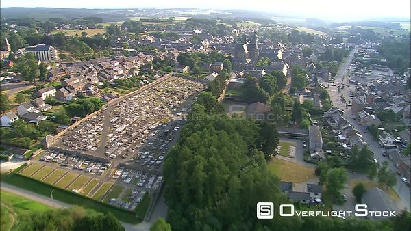 Flying above SaintHubert, Belgium, to orbit the Basilica