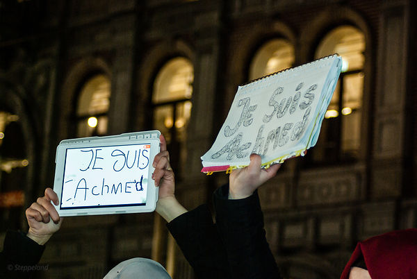 Amsterdam, Netherlands 2015-01-08: Two signs 'Je suis Achmed'  held high during the demonstration on the Dam.