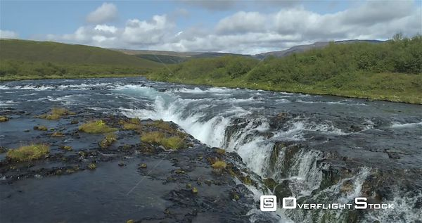 Over Bruarfoss Waterfall Revealing Aerial Iceland Sunny Day