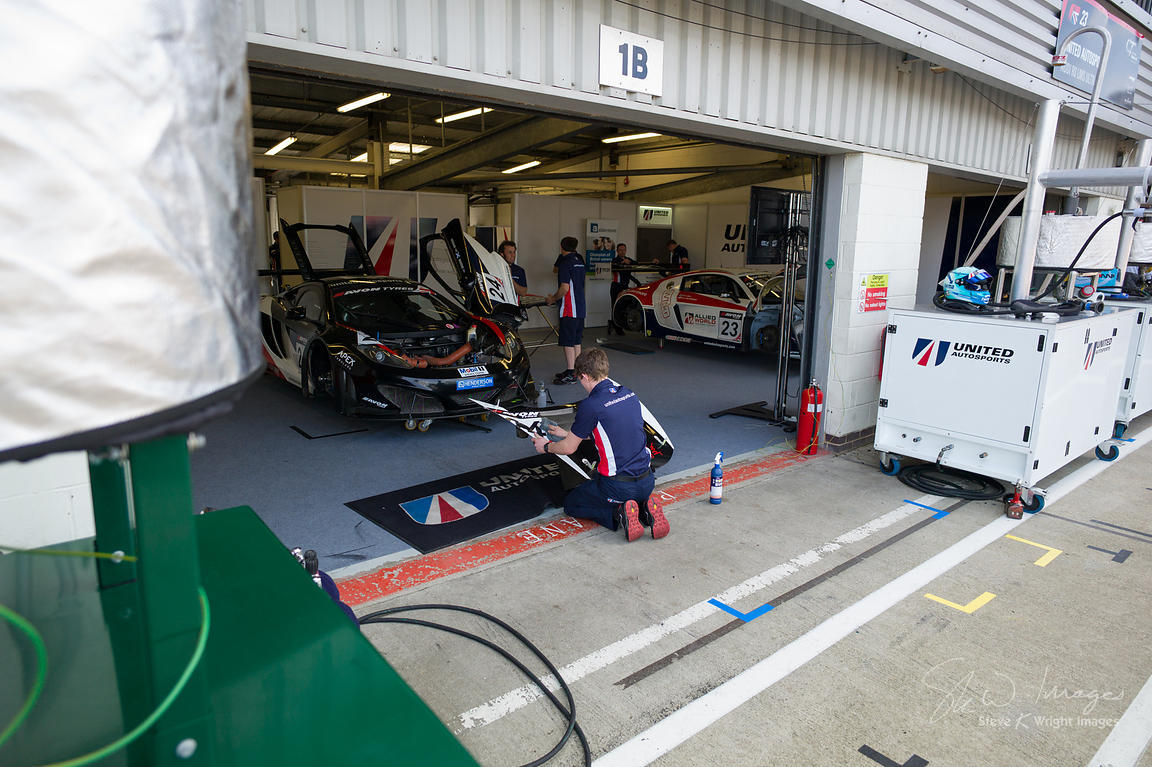 In the United Autosports garage, pre-race, at the Silverstone 500 - the third round of the British GT Championship 2014 - 1st...