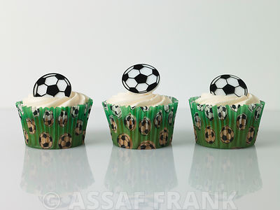Three football cupcakes