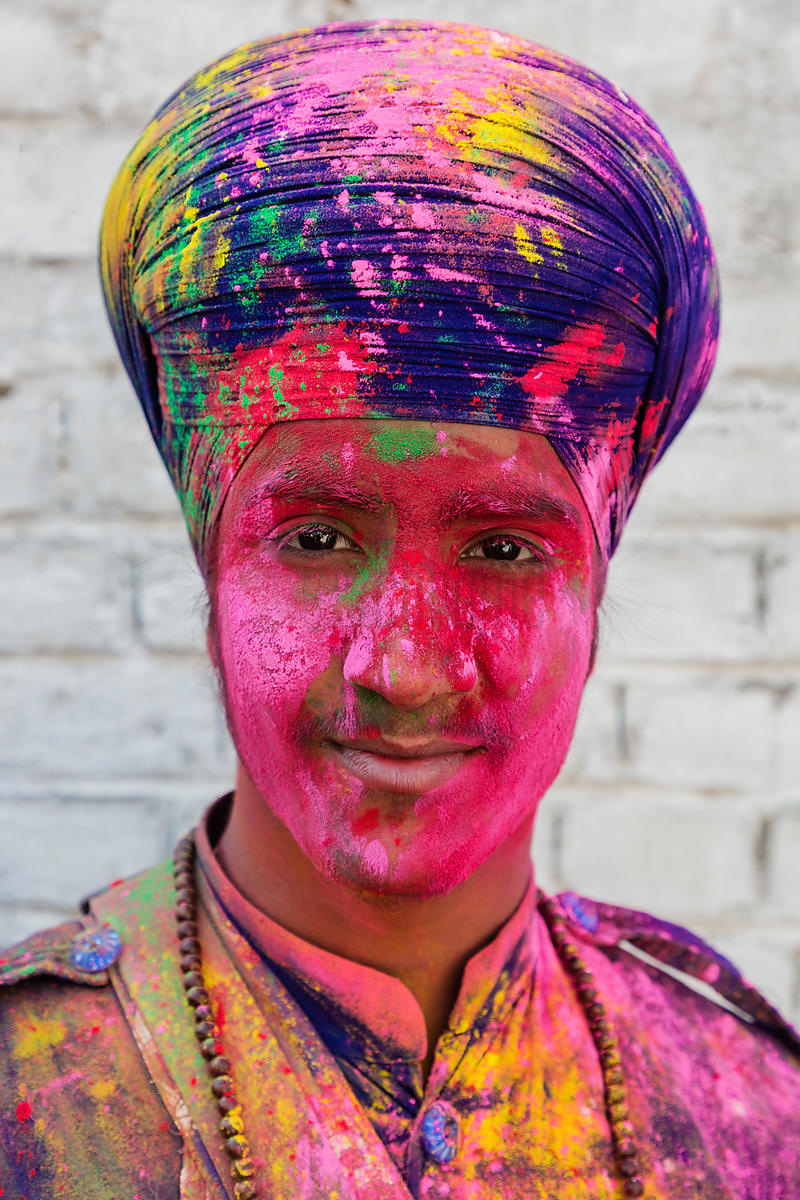 Portrait of a Sikh Man Covered with Holi Colours