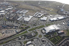 Widnes high level aerial photograph looking across Ashley Way towards Fiddlers Ferry road and Dennis road and the Industrial ...