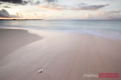 Sandy deserted beach at sunrise, Barbados, Caribbean