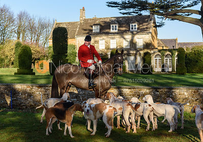 Andrew Osborne, hounds at the Cottesmore Hunt meet at Pickwell Manor 8/1