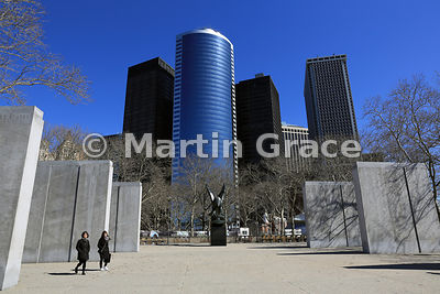 The East Coast Memorial (World War II), Battery Park, Manhattan, in winter, New York, USA