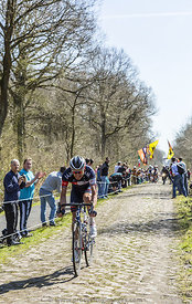 Aleksejs Saramotins in The Forest of Arenberg- Paris Roubaix 2015