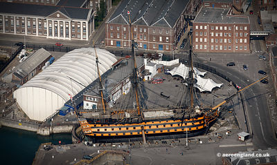 aerial photograph of HMS Victory in Portsmouth Hampshire   England UK