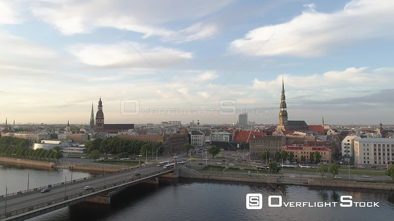 Aerial drone shot of Riga Old town approaching St. Peter's church