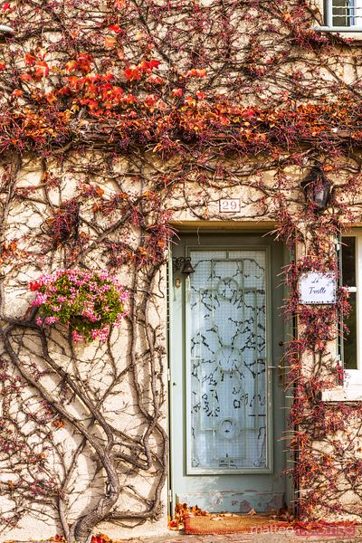 Typical house in autumn, Vezelay, Burgundy, France
