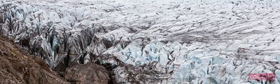 Panoramic of glacier in south Iceland