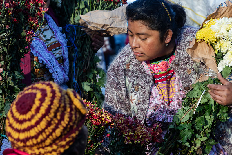 Women Selling Flowers at the Xela Market