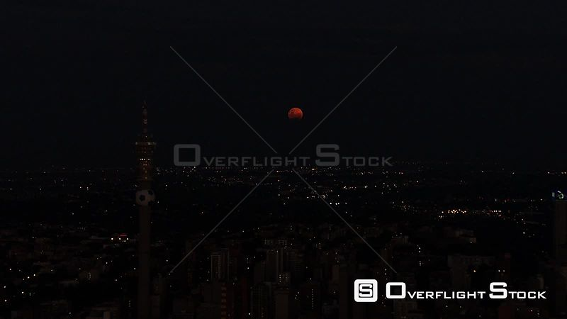 Aerial shot of Johannesburg city at night Johannesburg Gauteng South Africa
