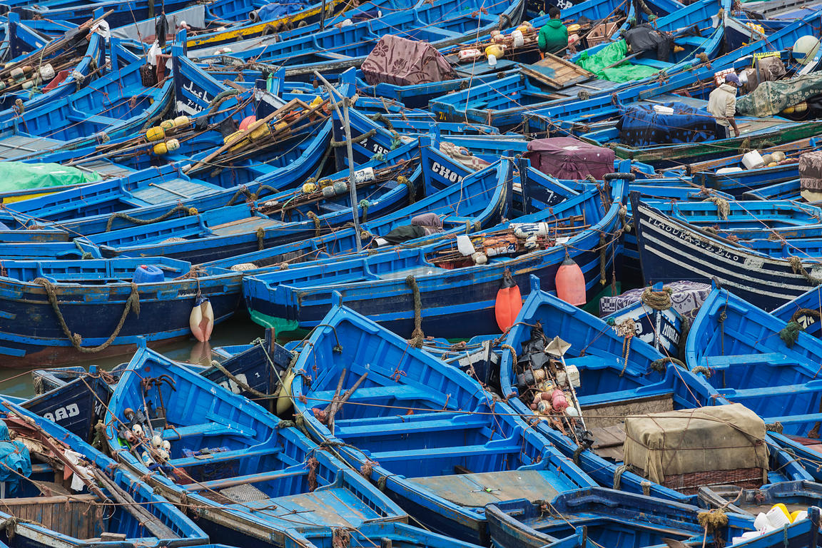 Fishing Boats Moored in the Harbour at Essaouira