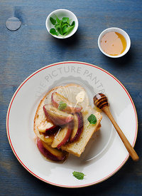 Toasts with peaches and butter