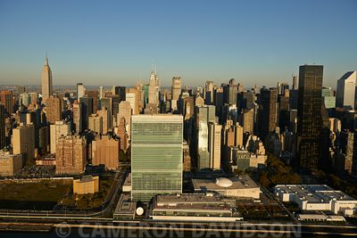 Aerial photograph of the United Nations building in New York City