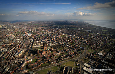 aerial photograph  Liverpool Anglican Cathederal looking towards Toxteth and South Liverpool