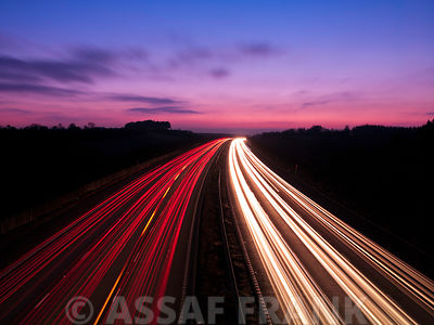 Strip Lights on Motorway, Long Exposure