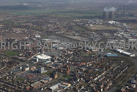 Widnes aerial photograph from the south showing the town centre and the retail shopping centres of Ashley retail park and Wid...