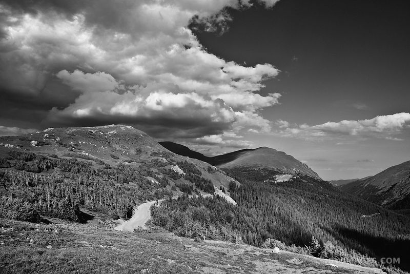 STORMY CLOUDS AND OLD FALL RIVER ROAD ROCKY MOUNTAIN NATIONAL PARK COLORADO BLACK AND WHITE