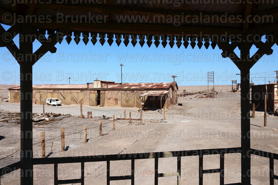 View from bandstand in square of abandoned nitrate mining town of Humberstone, Region I, Chile
