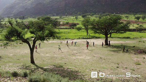 Children Playing Football in Rural Ethiopia