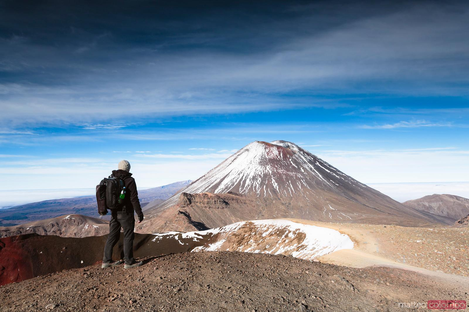 Hiker in front of Red Crater, Tongariro National Park, New Zealand