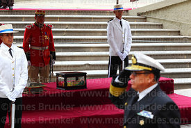 A Bolivian navy officer salutes as he parades past the remains of Eduardo Abaroa, Plaza Avaroa, La Paz, Bolivia