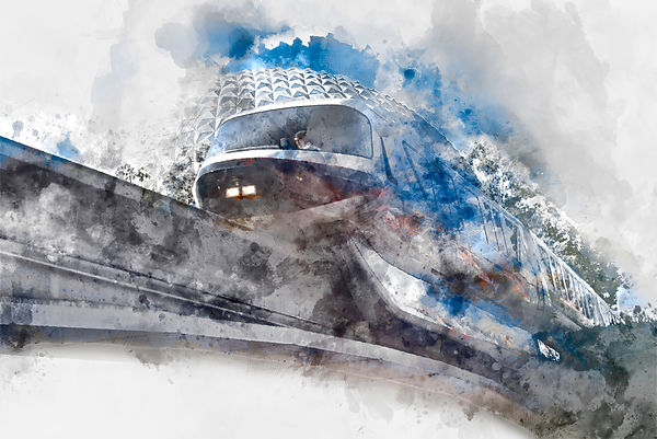 Monorail Black and Spaceship Earth | Digital Watercolor Canvas Gallery Wrap