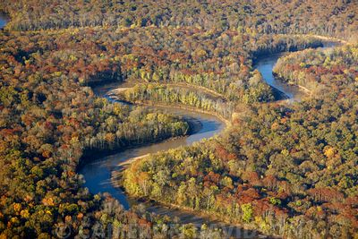 Aerial photograph of a tributary flowing in the Missippi River in Northern Tennessee