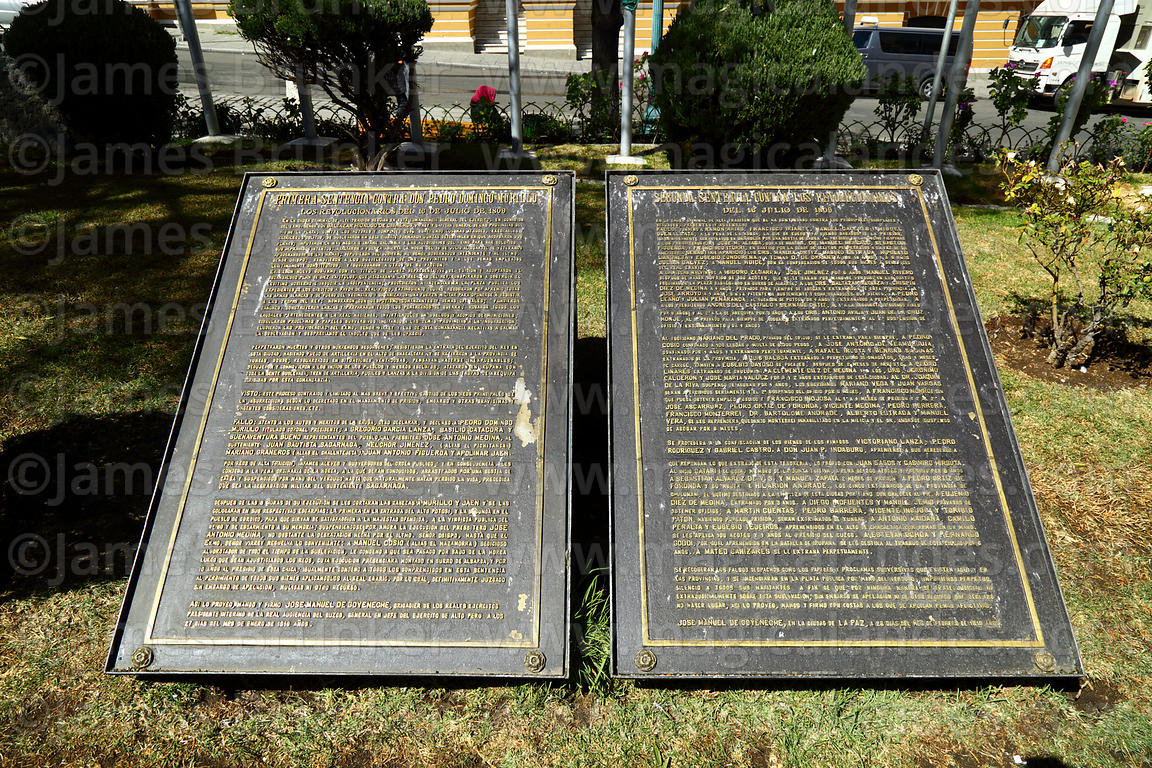 Plaque with transcription of judicial sentences against Pedro Domingo Murillo and members of the Junta Tuitiva, Plaza Murillo...
