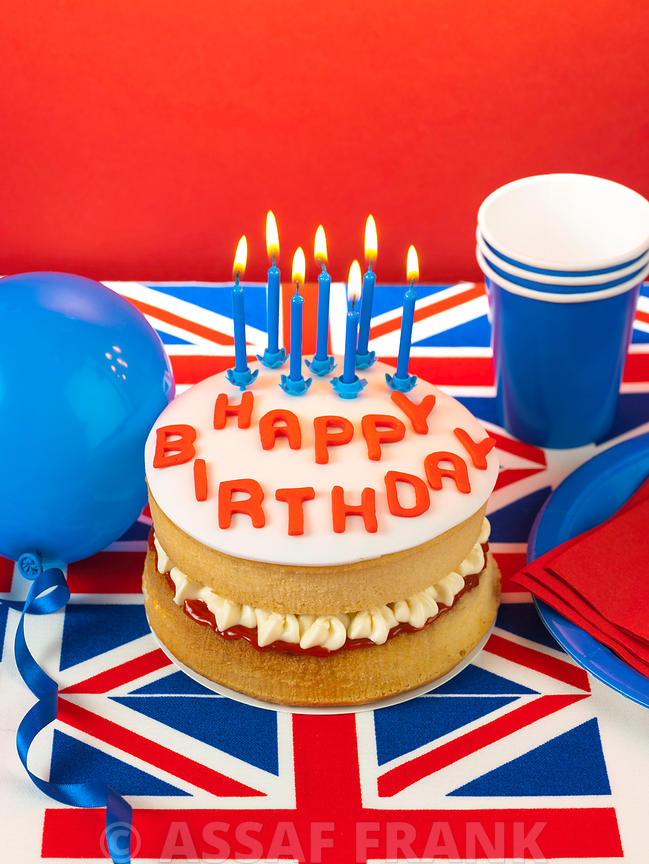 Union Jack birthday cake with candles