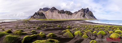 Aerial pano view of Vestrahorn, Stokksnes, Iceland