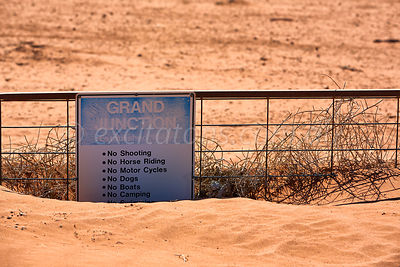 Gate buried by sand drift, Wentworth, NSW, Australia