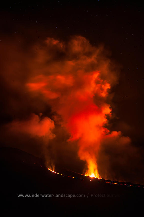 Volcanic eruption by night on la reunion island